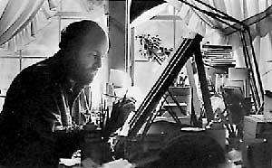 Will Moses at work in his studio